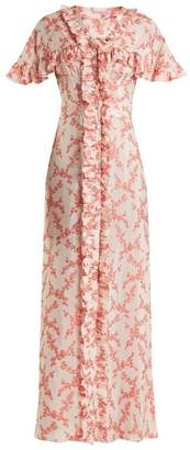 The Vampire's Wife - Charlotte Floral Jacquard Satin Dress - Womens - Red White