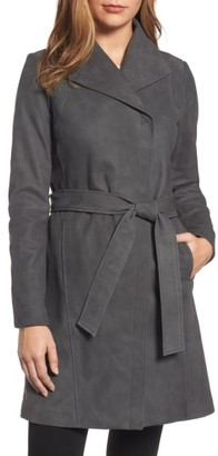 Women's Elie Tahari Jacqueline Belted Leather Trench Coat $695 thestylecure.com