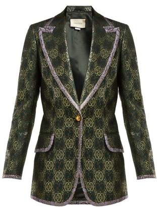 Gucci Gg Jacquard Single Breasted Blazer - Womens - Green Multi