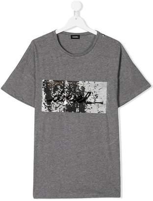 Diesel TEEN sequinned logo T-shirt