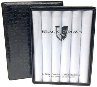 Black Brown 1826 6 Pack Cotton Hankerchiefs