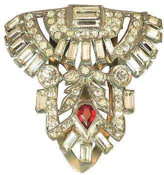 One Kings Lane Vintage 1920s Deco Crystal Clip Brooch - Neil Zevnik