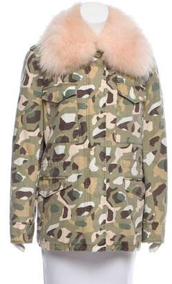 Yves Salomon Army by Fur-Trimmed Camouflage Jacket