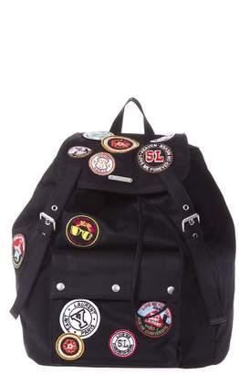 Saint Laurent Noe Black Gabardine Patch-work Backpack