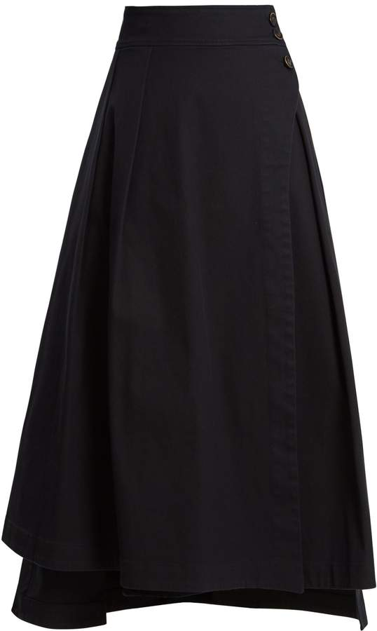 TEIJA Wrap-style cotton-blend skirt