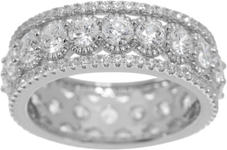 Diamonique Textured Eternity Band Ring Sterling