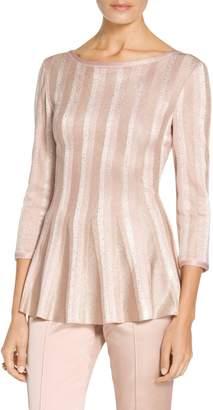 St. John Ombre Vertical Sequin Stripe Knit Fit & Flare Top