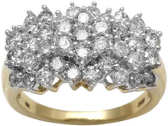 FINE JEWELRY 2 CT. T.W. Genuine Diamond 10K Yellow Gold Cocktail Cluster Ring