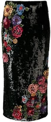 Alice + Olivia Alice+Olivia floral-appliquéd sequinned skirt