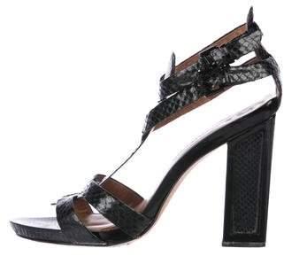 Modern Vintage Embossed Block Heel Sandals