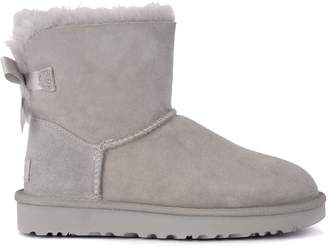 UGG Bailey Mini Grey Suede Ankle Boots With Bow.