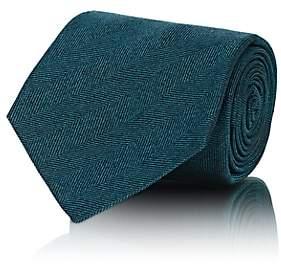 Kiton Men's Herringbone Silk Necktie - Turquoise