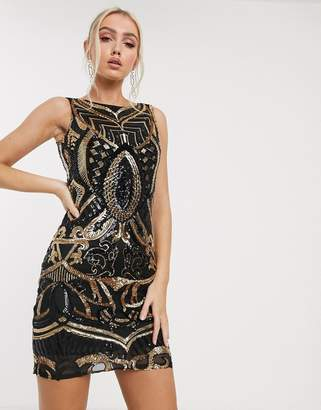 Goddiva embellished mini dress in black and gold