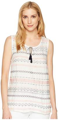 Tribal Sleeveless Embroidered Front Top Women's Sleeveless