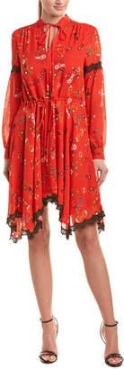 Derek Lam 10 Crosby Handkerchief Hem Silk A-Line Dress