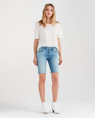7 For All Mankind High Waist Straight Bermuda Short with Destroy in Light Gallery Row