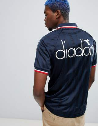 Diadora Offside retro T-shirt with taping in navy