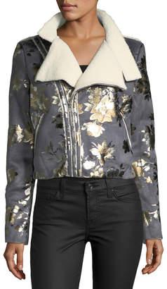 Goldie London Inca Rose Metallic Cropped Faux-Suede Jacket