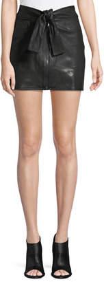 Frame Waist-Tie Lamb Leather Mini Skirt