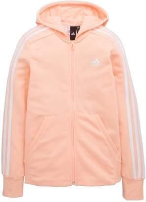 adidas Girls 3 Stripe Full Zip Hoodie