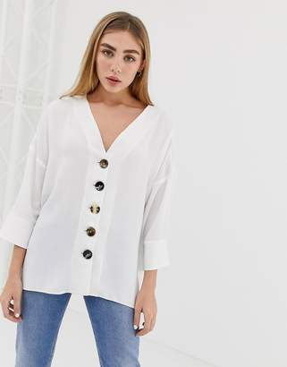 Asos Design DESIGN mixed button front top