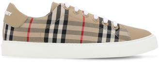 Burberry 20mm Albridge Check Leather Sneakers