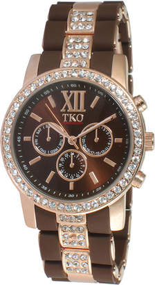 JCPenney TKO ORLOGI Womens Crystal-Accent Brown Dial Multifunction-Look Bracelet Watch