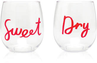 Kate Spade Acrylic Stemless 2-Pc. Wine Glass Set, Sweet & Dry