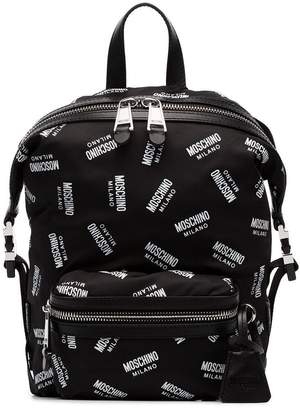 Moschino black and white All Over Logo Backpack
