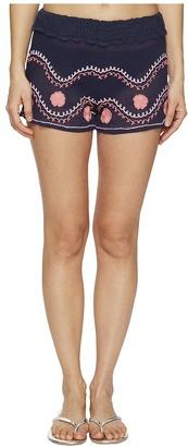Letarte - Embroidered Beach Shorts Women's Swimwear $138 thestylecure.com