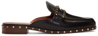 Valentino Black Garavani Flat Rockstud Mules