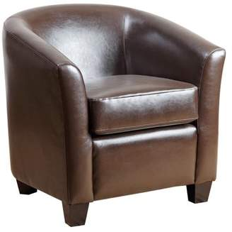 Abbyson Living Florence Bicast Leather Armchair, Dark Brown.