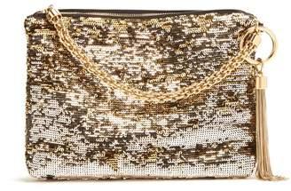 Jimmy Choo Callie Sequinned Tassel Clutch - Womens - Gold Multi