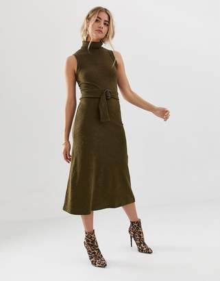 Asos Design DESIGN midi dress with roll neck and self belt