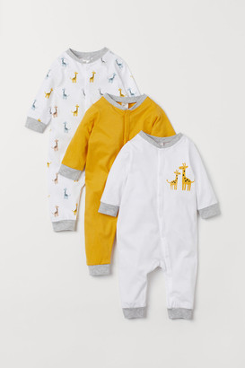 H&M 3-pack Cotton Jumpsuits - Yellow
