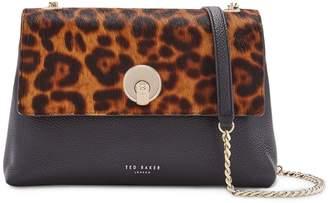 Ted Baker Leopard Print Genuine Calf Hair & Leather Crossbody Bag