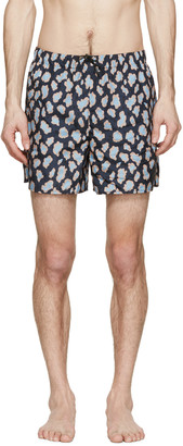 Acne Studios Navy Perry Print Swimsuit $190 thestylecure.com