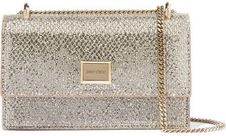 Jimmy Choo Leni Glittered Leather Shoulder Bag - Silver