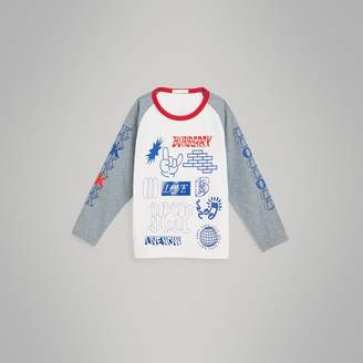 Burberry Childrens Long-sleeve Love Print Stretch Cotton T-shirt