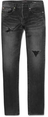 Saint Laurent Slim-Fit Distressed Denim Jeans