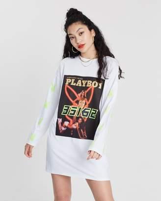 Missguided Playboy Magazine Neon Bunny Print Long Sleeve T-Shirt Dress