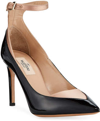 Valentino Two-Tone Leather & Satin Ankle Pumps