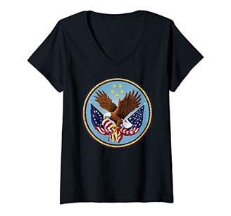 Womens Independence Day Eagle Shirt Art-Betsy Ross Flag 4th of July V-Neck T-Shirt