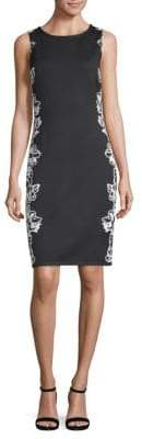 St. John Wool-Blend Floral-Print Sheath Dress