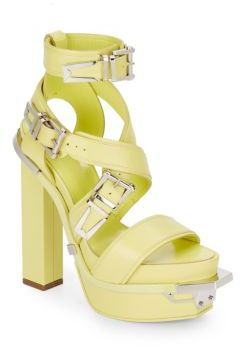 Versace Leather Buckle Platform Sandals