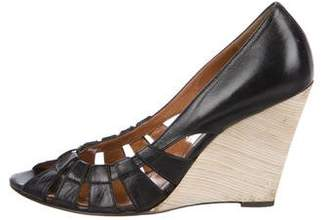 Golden Goose Leather Peep-Toe Wedges