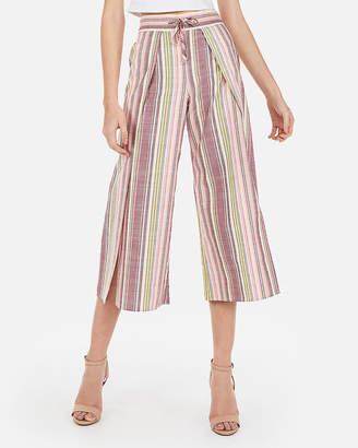 Express High Waisted Wide Leg Cropped Linen Culottes