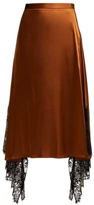 Christopher Kane Lace Trimmed Satin Midi Skirt - Womens - Black Brown