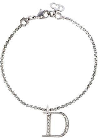 Christian Dior Christian Dior Crystal Link & Logo Charm Bracelet