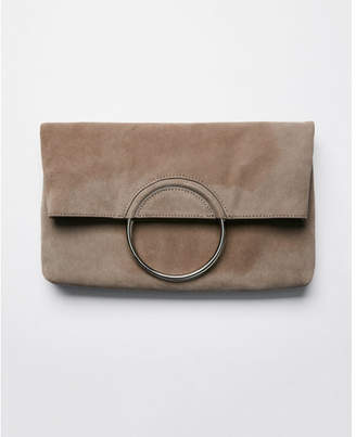Express genuine suede o-ring clutch